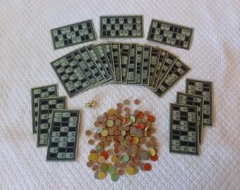 Vintage Bingo Gameboards and Wooden Number Pieces~~24 Bingo Gameboards~~Bingo Boards~~Vintage Game Pieces~~Vintage Dice~~Vintage Games