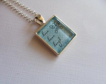 Scrabble size pendant necklace, blue necklace, glass dome pendant, live, laugh, love, pendant necklace, scrabble necklace, inspirational