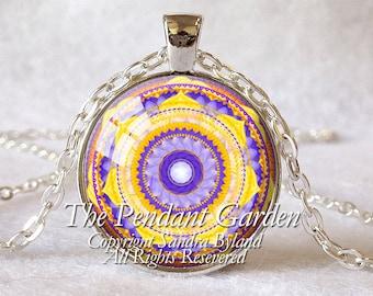 CHAKRA PENDANT Solar Plexus Chakra Necklace Yellow Chakra Spiritual Pendant Yoga Energy Healing Meditation Chakra Sterling or Silver Plate