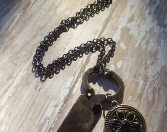 A. E. Deitz - Wedding Key - Skeleton key - Enamel Medallion - Skeleton Key Necklace  - Boho Jewelry - Hippie Jewelry - Hipster Jewelry