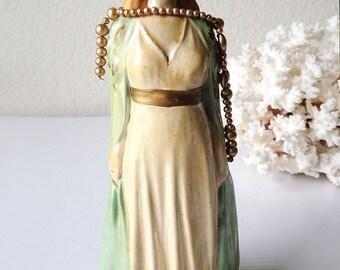 Vintage chalkware girl statue chalk ware lady figurine nouveau plaster princess