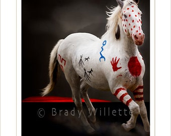 Poster of Blackfeet Warrior War Pony White with Red, Blue and Black Indian Symbols