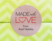 Made with love stickers - Baked with love labels - Custom kraft round labels - Handmade goods stickers - cooking labels (L-02k)