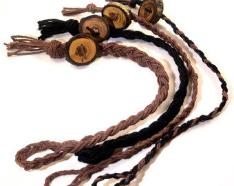 Wooden Button Bracelet, Braided Bracelet, Braided Button Bracelet, Boho Button Bracelet, Rustic Wood Buttons, Wood Slice Bracelet, Woven