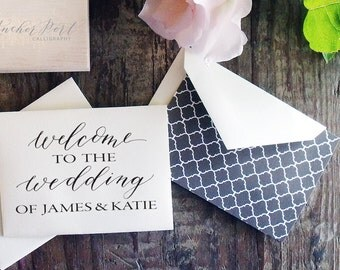 Welcome to the wedding of... hand calligraphy rubber stamp | wedding | favor | DIY