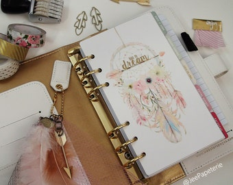"Planner DASHBOARD, A5, Personal, Half-Letter: Gold Foiled ""Dare To Dream"" & Watercolor Dreamcatcher/Feathers/Arrows/Florals, 5-mil Laminated"