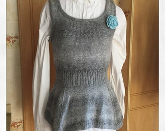 Hand Knitted Sleeveless grey jumper, Ladies Top, Spring Top, Grey Top, Knitted Top, Fashion Week, Knitted Fashion, grey sleeveless top