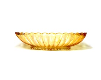 Imperial Pillar Flute Marigold Carnival Glass Pickle Dish - Carnival Glass Relish Tray- Lustre & Clear Marigold Bowl