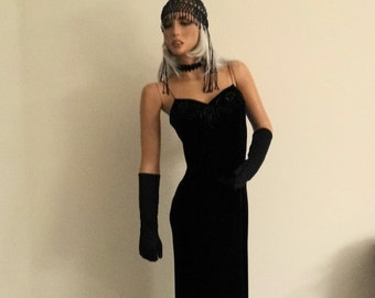 Pretty 1910's-1920's Ballroom Dancing Gown-Dress/Gangster Wife/ Good Witch/Sexy Ballroom Gown Outfit Hat/Gloves/Dress/ Choker Size 8-10