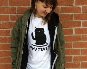 Whatever cat t-shirt - Cattitude t-shirt - black or white - Lovestruck prints <3