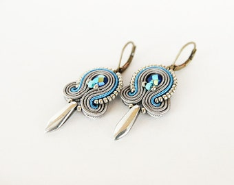 Grey unique earrings, soutache grey earrings, silver soutache, soutache jewelry, small grey earrings hand embroidered earrings boho earrings