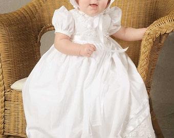 McKenna Embroidered Shamrock Dress, Cotton Dress, Christening Dress, Baptism Dress for Baby Girl's