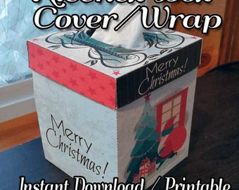 Kleenex™ Brand Tissue Box Cover, Wrapper, printable, instant download, Santas Here tissue box, wrap sleeve