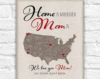 Gift for Mom from Kids or to Children, Long Distance Mother and Children, Home is Wherever Mom Is, Christmas Gift for Parents, Mama | WF309