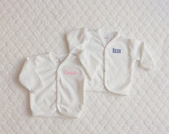 Newborn Home from the Hospital. Newborn Jacket with Snap Down Front.  Baby's Name Embroidered