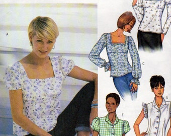 Butterick 3524, Misses Sizes 18, 20, 22, Loose Fitting Pullover Top, Neckline and Sleeve Variations, Raised Waist, Self Ruffle Options