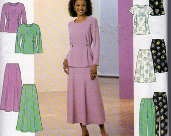 Simplicity 8401, Misses Long Pullover Top with Front Pleats, Flared Gored Skirt and Tapered Pants Sewing Pattern, Sizes 14, 16 , 18 , Uncut