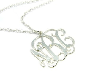 Monogram Necklace - 0.8 inch Initial Personalized necklace - Rhodium plated brass. Personalized jewelry. Monogram initial necklace. Gifts
