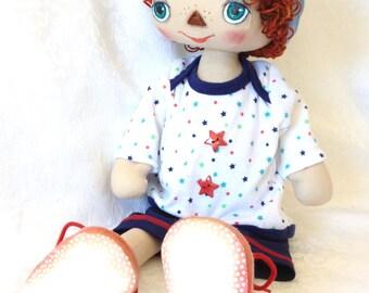 Cloth doll, Fabric, boy, doll, one of a kind