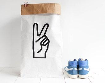 Grand sac papier géant / stockage rangement jouets chambre / blanc kraft sérigraphié / Victoire