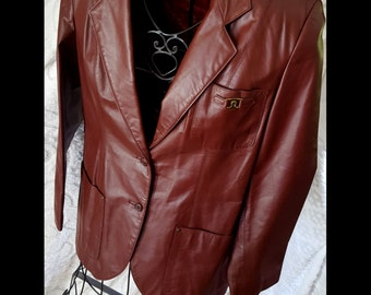 VC000020 ETIENNE AIGNER Vintage 80s Ox Blood Leather Blazer Sport Jacket Suit Coat Hippie Mod Vintage By God Oddities on Etsy