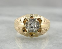 Old Magic, New Magic: Antique Victorian Ring with Modern Square Cut Diamonds  P5XP3Y-P