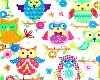 Owls fabric french Children's fabric  designer fabric. Owl print fabric Cotton Kids fabric green pink sewing home decor