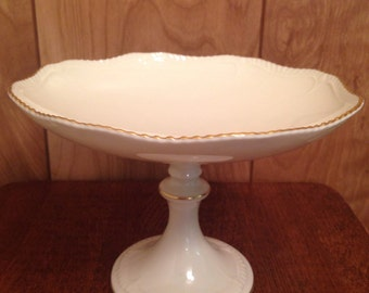 Elegant Vintage 8.5-Inch LENOX China Gold Trimmed Ivory Dessert Cupcake Stand, Pedestal Cake Plate, Table Centerpiece, Made in USA
