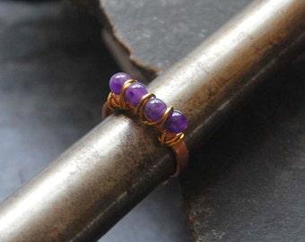 Amethyst gemstone ring, February birthstone, Birthday gift, Wire wrapped multistone ring, Bohemian ring, Boho chic jewelry, 1120-Amethyst