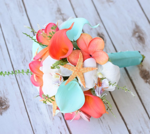 Wedding Coral Orange And Aqua Turquoise Natural Touch Orchids