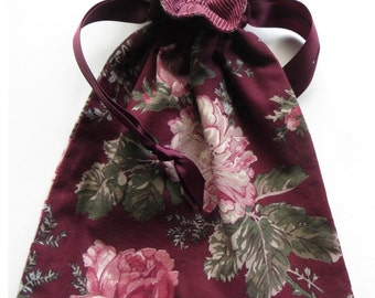 Lined Drawstring Fabric Gift Bag - Maroon Floral