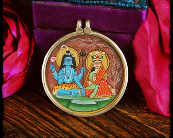 Indian Krishna Radha Painting Amulet - Large