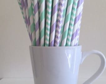 Mint Green and Light Purple Striped and Chevron Paper Straws Mint and Lavender Lilac Party Supplies Party Decor Baby Shower Bar Cart