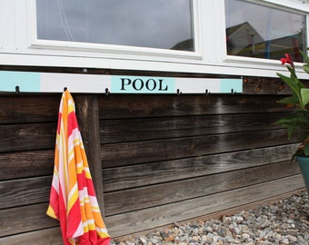 Pool/Beach Towel/Swim Suit Hanger/Rack. Farmhouse style. Choose colors/words (LAKE, BEACH, POOL or personalize with your family name)