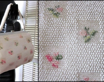 Beaded Bridal Purse / Vintage Bridal Purse / 50s Beaded Handbag / Lumared Beaded Purse / Large Bridal Purse