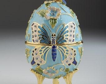 light Blue butterfly Faberge Egg music box
