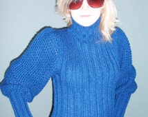 Vintage 1980's The Italian Mob Size XS/S Small Blue Puff Sleeve Mock Turtleneck Sweater Scandanavian Sweater Winter COZY
