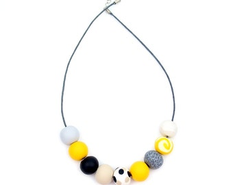 Mustard Yellow, Black and Coffee Handmade Bead Necklace, 'Mollie' 9 Bead Necklace, Statement Bead Necklace, Yellow and Black Necklace