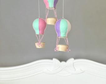 Baby Mobile, Hot Air Balloon Mobile, Crib Mobile, Nursery Mobile, Travel Theme Nursery, Nursery Decor, Baby Shower Gift Girl, Pastel Nursery