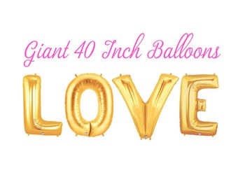 Love Balloons, Wedding Balloons, Letter Balloons, Bridal Shower, Gold Balloons, Engagement Party, Wedding Decor, Bridal Shower Decor