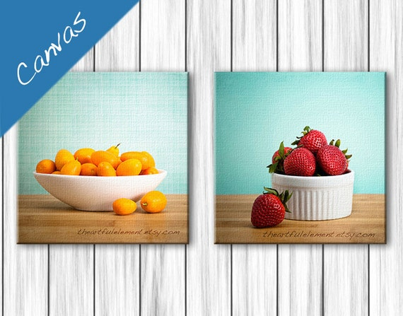 Canvas Kitchen wall art, Colorful kitchen, Strawberry photo, Kitchen decor, Food photography, Aqua kitchen, Canvas set  // Summer Fruit art