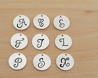 Add a Hand Stamped Silver Initial Charm / Script Font / Alphabet Initial Disc - Initial Disc