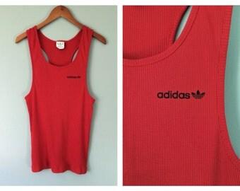 Vintage Adidas Tank Top Ribbed Red Logo Sleeveless Racer Back T-Shirt 90's Hip Hop Streetwear Singlet Sporty Unisex Women's Size XL Large