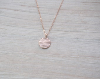 Rose Gold Necklace With Textured Disc, Rose Gold Necklace