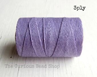 Lilac Irish waxed linen cord 3ply (10 yards) - irish waxed linen cord, irish waxed linen thread purple irish linen, uk irish linen cord
