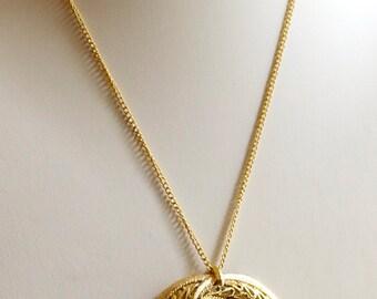 Vintage Necklace Gold Toned Necklace Pendant 1960s