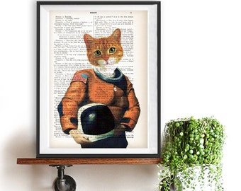 Astronaut Cat Art Illustration, Space, Cat space suit ,recycled book, Kids Décor, Decor, kids room, Wall Art decor,funny cat poster