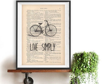 Positive Quote print Typography Posters Live Simply Bicycle Friend Home decor Handwritten words vintage book page wall decor Gift For Her
