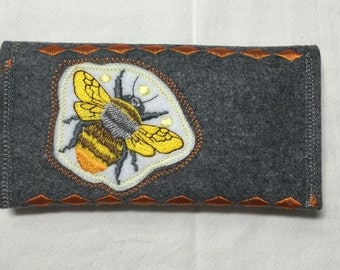 Bee, wallet, embroidered, felt wallet, snap closure, embroidered bee