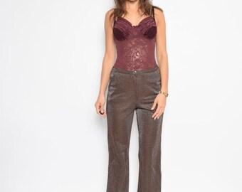 Vintage 80's Metallic High Waist Pants / Sparkling Brown Cropped Pants - Size  Medium